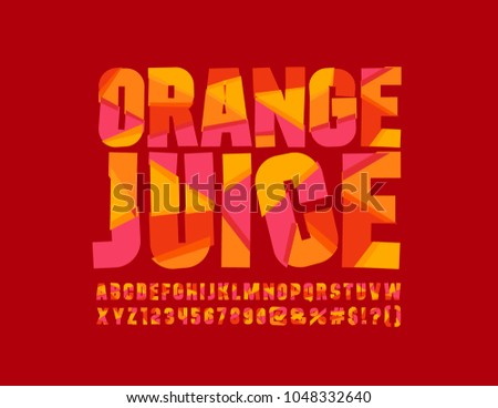 Vector Red sliced Orange Juice logotype. Bright mosaic Font. Colorful creative Alphabet Letters, Numbers and Symbols