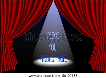 Vector red stage curtains open with spot light on center stage - stock vector