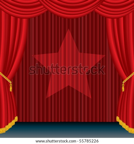 vector red stage with spotlight star