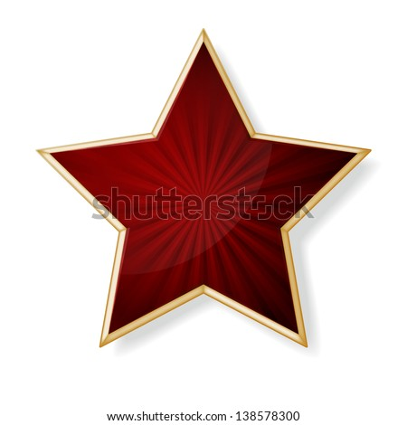 vector red star with gold