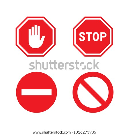 vector red stop signs set
