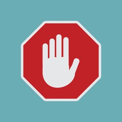Vector Red StopTraffic Sign Iconin Flat Design Isolated on BlueBackground,Traffic Regulatory Warning Stop SymbolIllustration, Stop Vehicle Before Passing,UK Road Work Sign,Under Construction