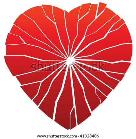 vector red torn broken heart as a sign of past pain after loss of love