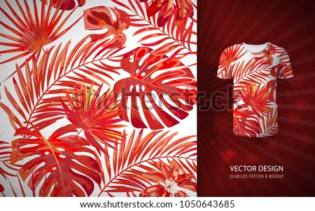 Vector red Tropical palm leaves seamless pattern. Floral exotic Hawaiian background. Blooming elements. Hand drawn jungle plants. Ideal for fabric, wallpaper, textile, bedding,t-shirt print.