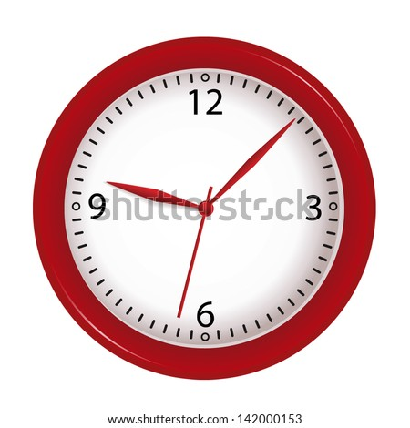vector red wall clock isolated
