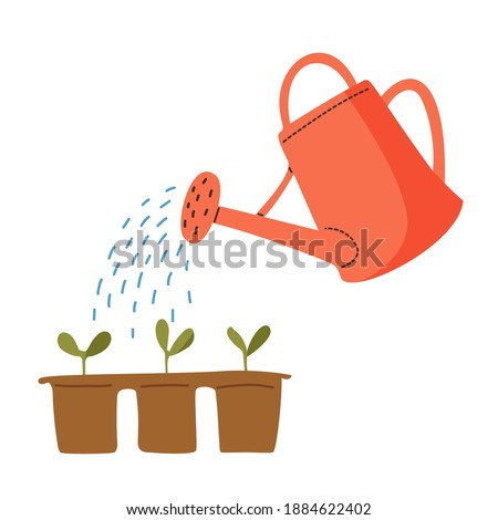 Vector red watering can isolated on a white background. Gardening tools. Seedlings are watered from a watering can. Foto stock ©