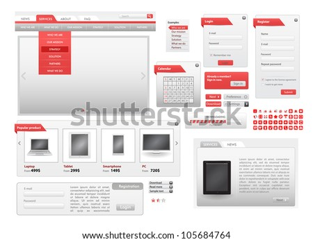 Vector Red Web Design Frame Vector