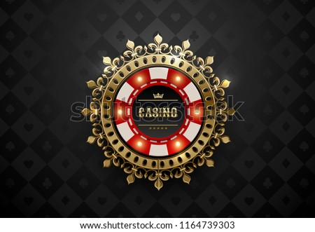 Vector red white casino poker chip with luminous light elements and golden crown wreath frame. Black silk geometric card suits background. Blackjack or online casino web banner, logo or icon