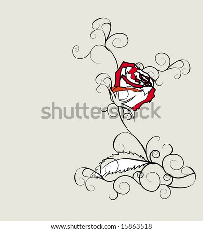 stock vector vector red white rose sketch