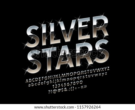 Vector reflective Sign Silver Stars. Metallic glossy Font. Decorative glamour Alphabet Letters, Numbers and Symbols