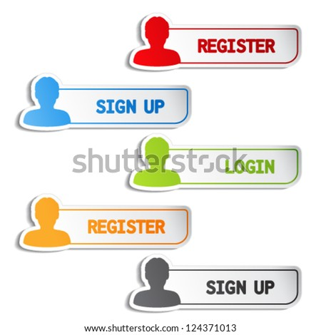 Vector register, sign up, login buttons or stickers