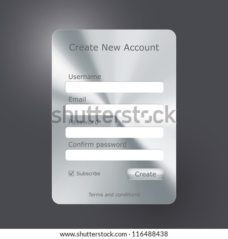 """Vector registration form with polished metal texture. """"Create new account"""" web form. Register form"""