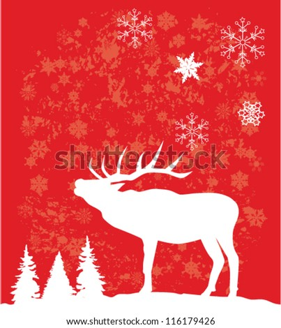 vector reindeer on red background