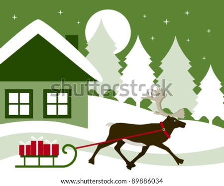 vector reindeer pulling sledge with gifts