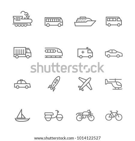 vector related transport icons flat lines set grey on white background
