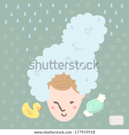 Vector Relaxing Bath time Illustration