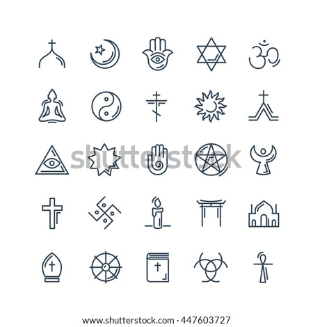 Vector religion icons set thin style - Shutterstock ID 447603727