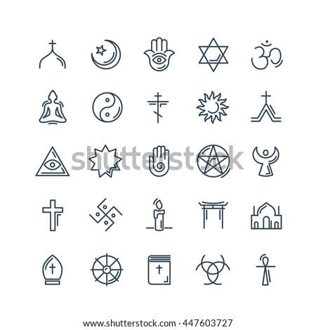 vector religion icons set thin