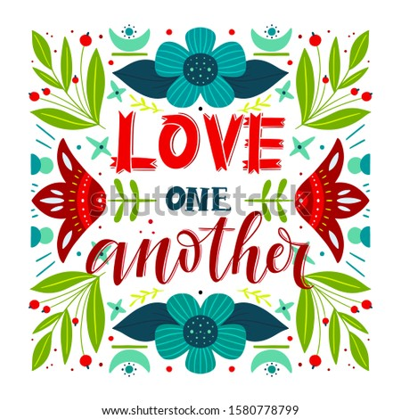 Vector religions lettering - Love one another. Modern lettering illustration. T shirt hand lettered calligraphic design. Perfect illustration for t-shirts, banners, flyers Stock foto ©