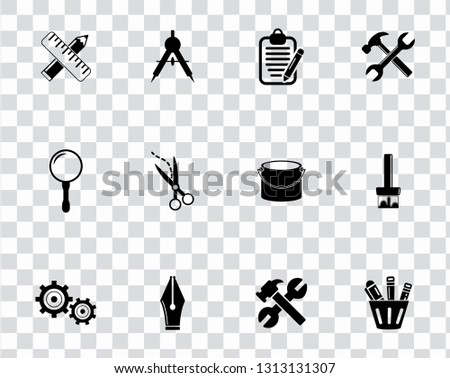 vector repairing tool symbols - maintenance work illustrations. industrial instrument. construction design icons set