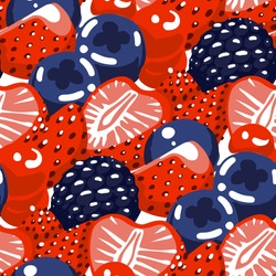 Vector repeated seamless pattern of different berries, such as strawberry, blueberry and blackberry