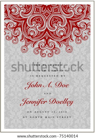 Vector Repeating Background and Red Ornament Background. Easy to edit. Perfect for invitations or announcements.