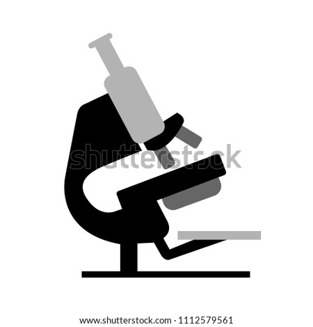 vector research equipment, science lab icon - biology microscope isolated
