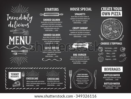 Vector Restaurant Brochure Menu Design Vector Cafe Template With – Restarunt Brochure