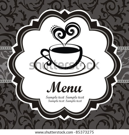 Vector. Restaurant menu design. Coffee cup with steam