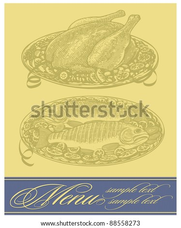 Vector restaurant menu design with roasted chicken and fish