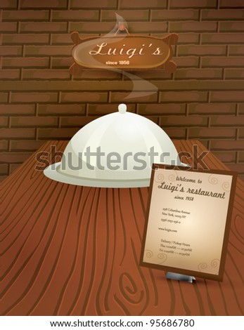 Vector restaurant menu.  Menu on the dining table with cloche and wooden sign in the back. Ready for print. A4 dimensions