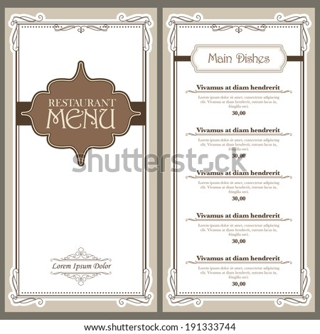 Vector restaurant or cafe menu design