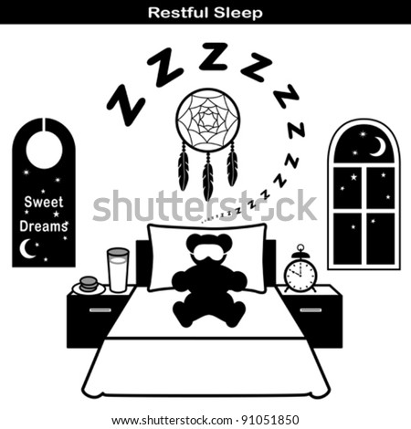 vector - Restful Sleep Symbols: Teddy bear, sleeping mask, comfortable bed, pillow, snore, zzz, dream catcher, milk, cookies, night window, moon and stars, sweet dreams door hanger,  EPS8 compatible.