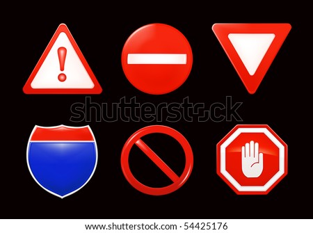 vector restrictive signs  on