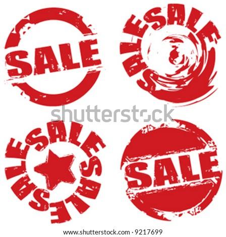 Vector retail grunge sale label symbols