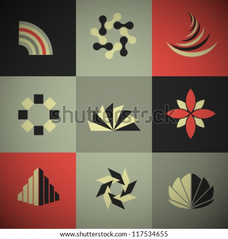 Vector Retro Abstract Icons Set