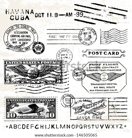 vector retro air mail stamps....