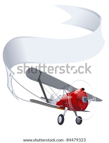 Vector retro airplane with banner
