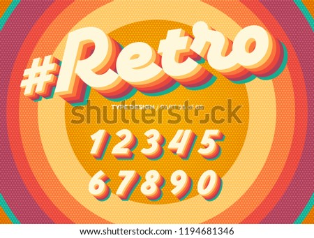 Vector Retro Alphabet Design. Vintage 3D Typeface with Colorful Rainbow Layers. Decorative Numbers in 70s Style. Funky Typeset for Poster or Banner. Trendy Classic Cursive on Retro Circle Background.