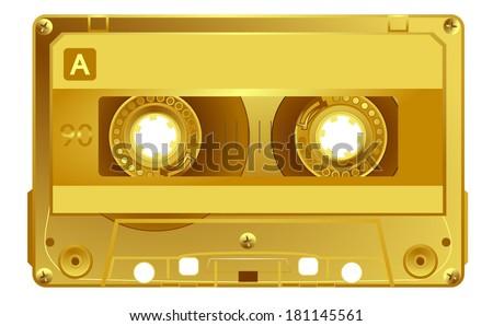 Vector retro audio cassette. Gold music award music tape. Isolated on white background. Vector art eps10, illustration
