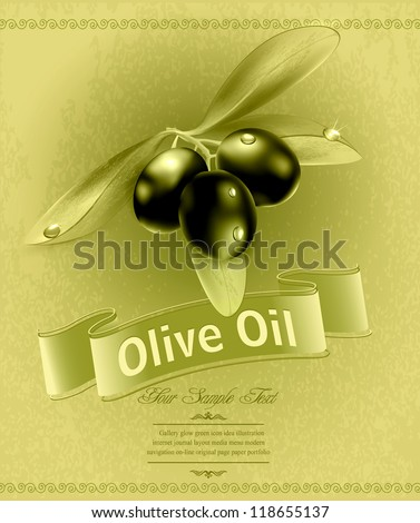vector retro background with olives and a ribbon