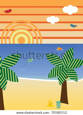 Vector - Retro Beach Landscape Season Summer
