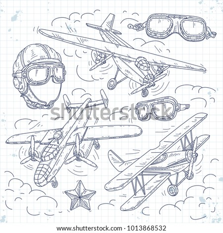 vector retro biplane  set icons