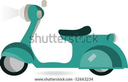vector retro blue scooter