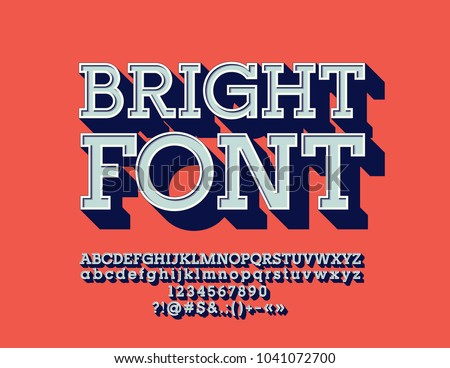 Vector Retro Bright Font.  Set of vintage 3D Letters, Numbers and Symbols
