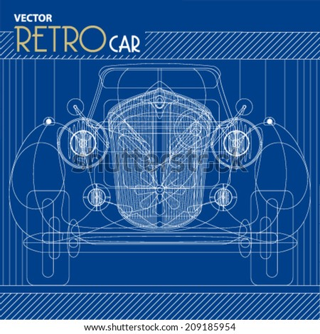 vector retro car blueprint