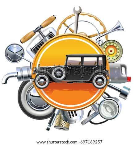 Vector Retro Car Parts with Old Automobile
