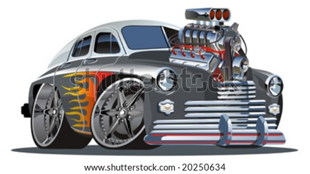 Vector retro cartoon hotrod (engine full complete). Separated by layers and groups. More vector cartoon cars see in my portfolio.