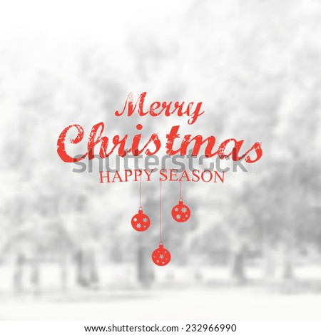 Vector Retro Christmas banner typography. Winter Label with christmas decoration in blurred landscape background.