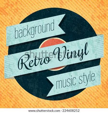 vector retro color vinyl record